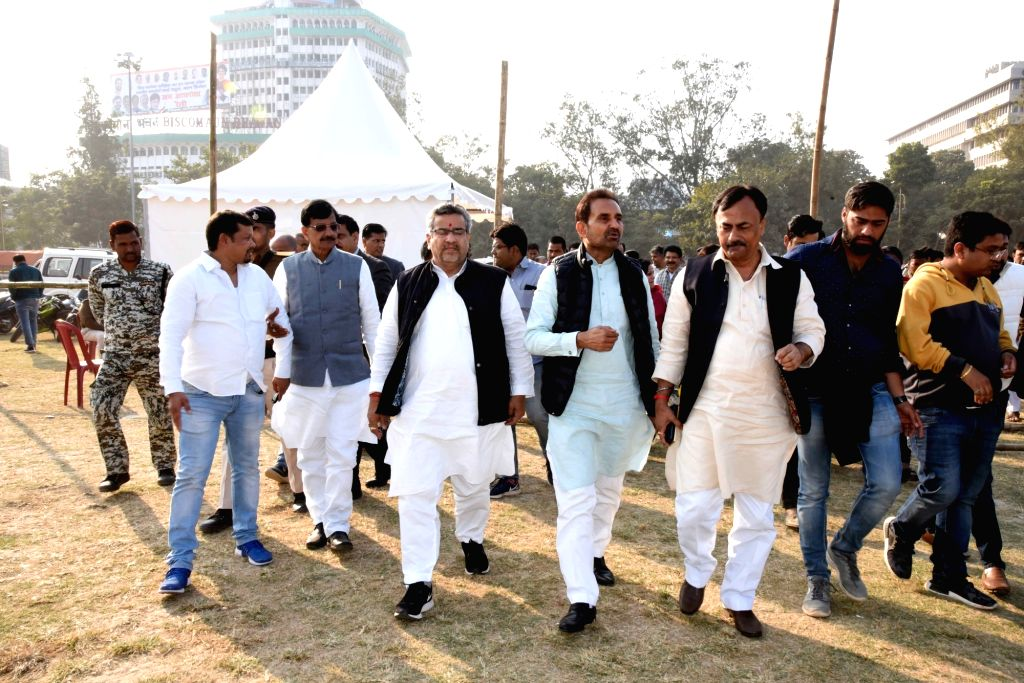 Congress Bihar in-charge Shakti Singh Gohil inspects preparations for upcoming party rally at Gandhi Maidan in Patna on Jan 31, 2019. - Singh Gohil