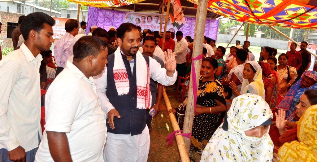 Congress candidate for 2014 Lok Sabha Election from Guwahati, Manash Bora during an election campaign at Ulubari in Guwahati on April 13, 2014.