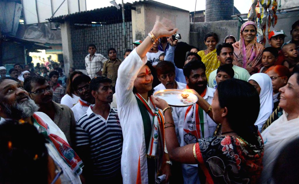 Congress candidate for 2014 Lok Sabha Election from North West Mumbai, Priya Dutt during an election campaign in Mumbai on April 18, 2014.