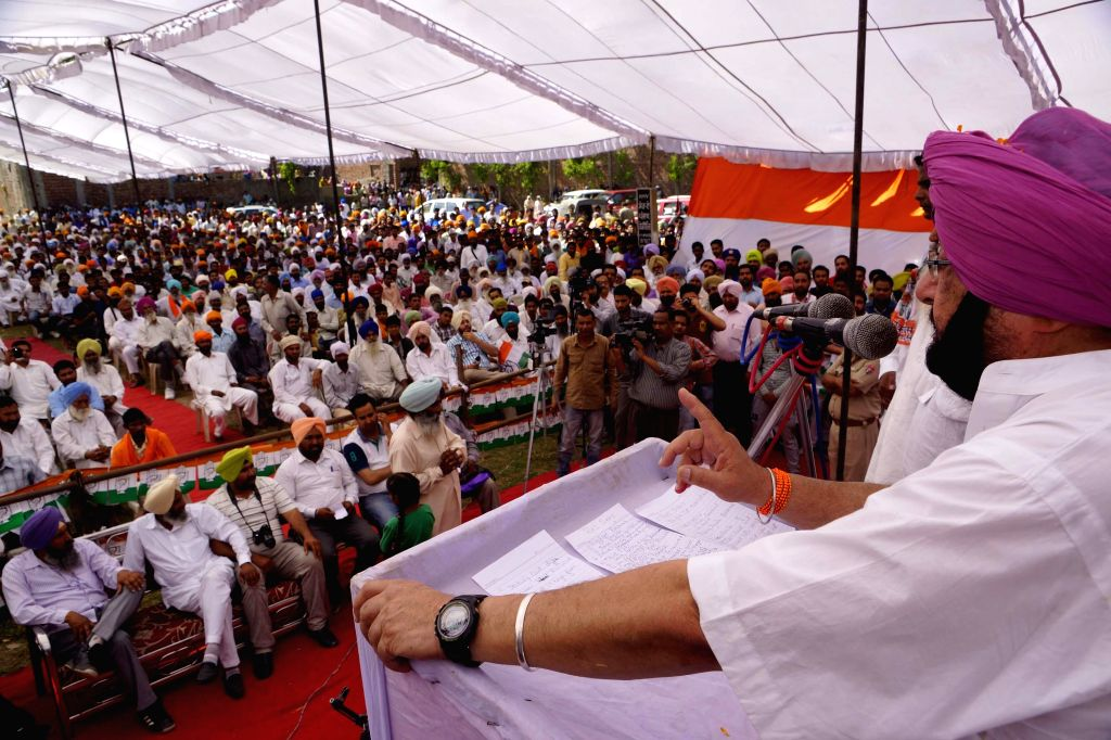 Congress candidate from Amritsar, Capt Amarinder Singh during a rally at Ajnala near Amritsar on April 17, 2014.