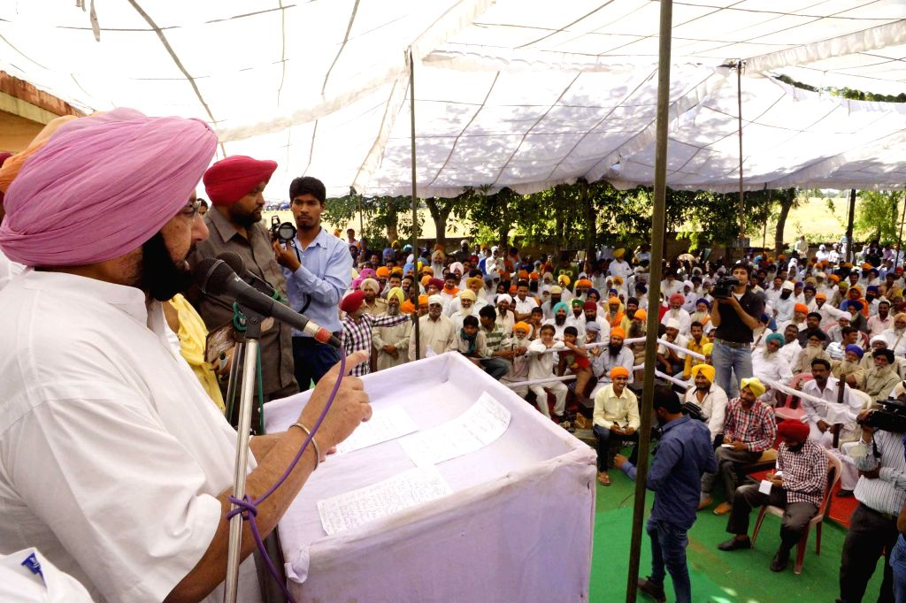 Congress candidate from Amritsar, Capt. Amarinder Singh addressing during a rally at Rajasansi near Amritsar on April 19, 2014.