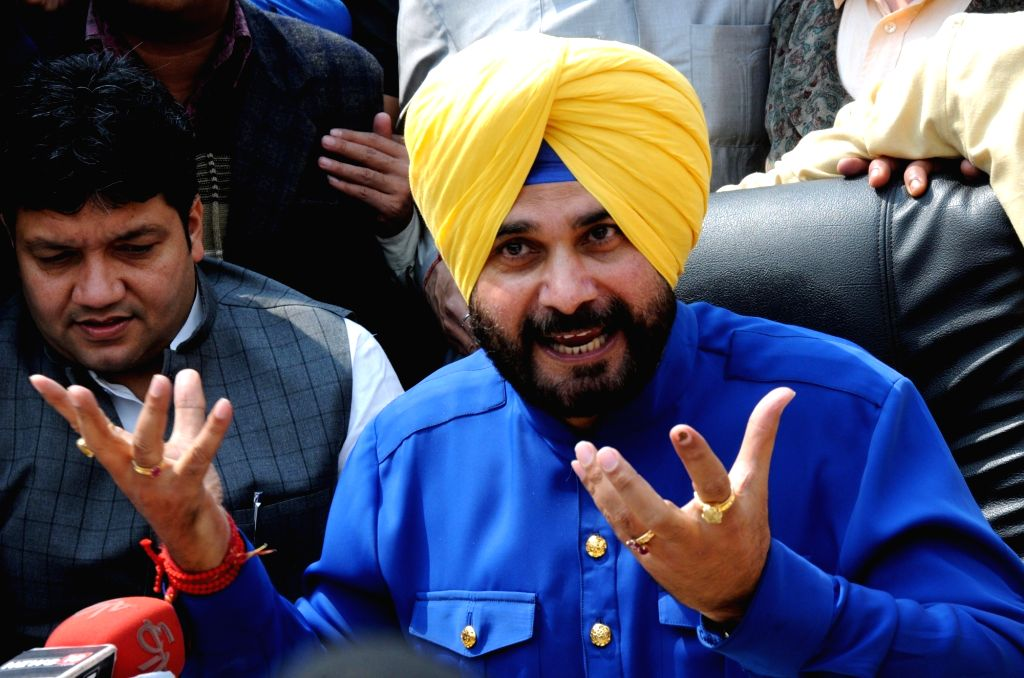Congress candidate from Amritsar East assembly constituency Navjot Singh Sidhu talks to press after his victory in Punjab assembly elections in Amritsar on March 11, 2017. - Navjot Singh Sidhu