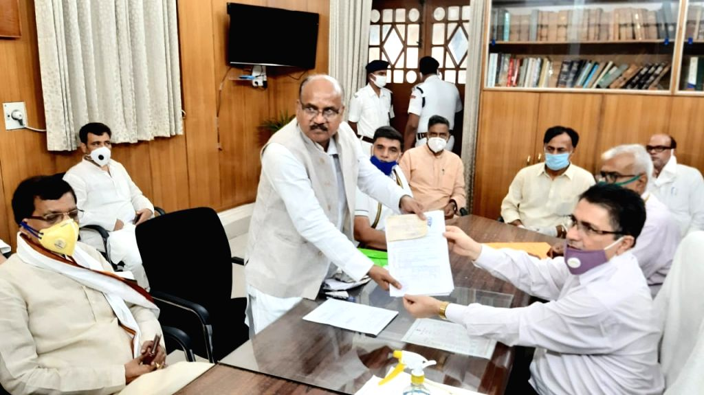 Congress candidate Samir Kumar files his nomination papers for the Bihar Legislative Council (MLC) elections, at the state assembly in Patna on June 25, 2020. - Samir Kumar