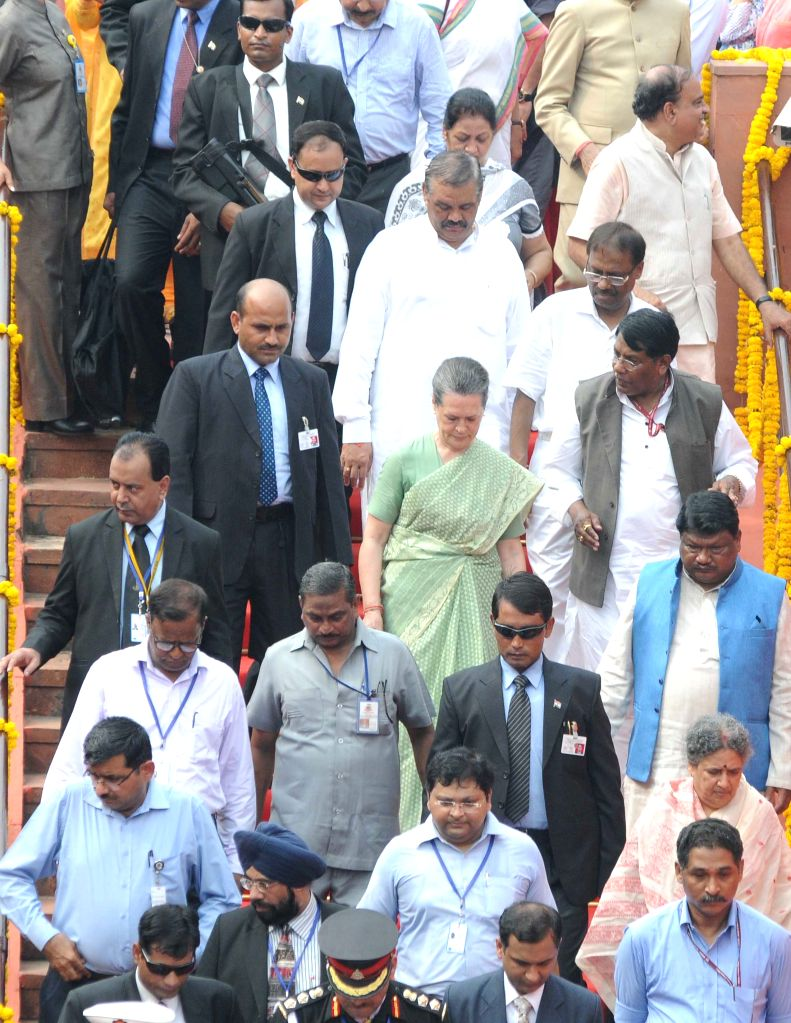 Congress chief Sonia Gandhi at Red Fort on the occasion of 69th Independence Day in Delhi on August 15, 2015. - Sonia Gandhi