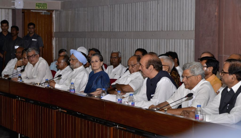 Congress chief Sonia Gandhi chairs a meeting of All Opposition Party leaders over presidential election at Parliament house library building in New Delhi on June 22, 2017. - Sonia Gandhi