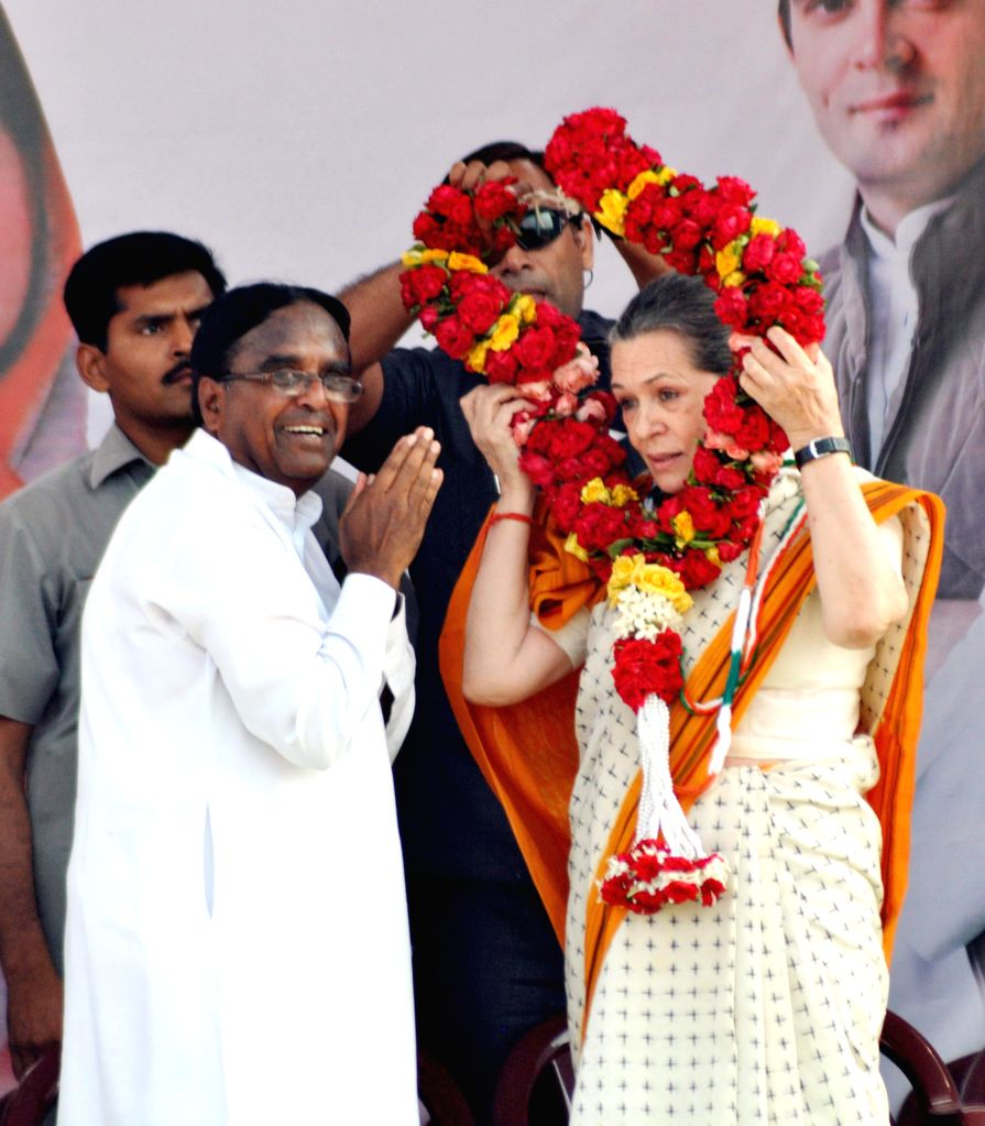 Congress chief Sonia Gandhi during a rally in Karimnagar district of Andhra Pradesh on April 16, 2014.