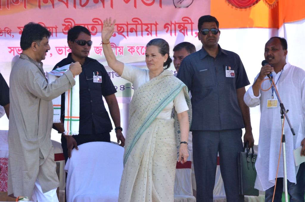 Congress chief Sonia Gandhi during a rally in Morigaon district of Assam on April 7, 2016. - Sonia Gandhi
