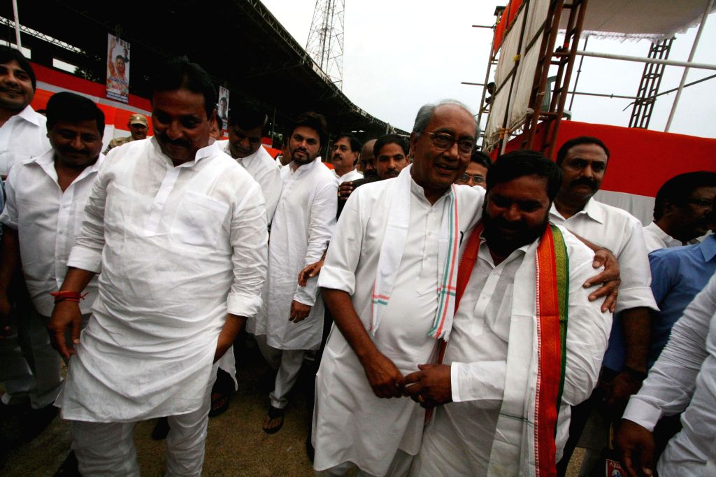 Congress general secretary Digvijay Singh and other party leaders leaders inspect arrangements at Lal Bahadur Shastri Stadium in Hyderabad on April 24, 2014, a day ahead of Congress vice president ... - Digvijay Singh