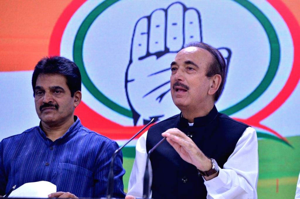 Congress general secretary in-charge of Haryana Ghulam Nabi Azad addresses a press conference in New Delhi on Sep 4, 2019. Also seen Congress general secretary organisation K C Venugopal.