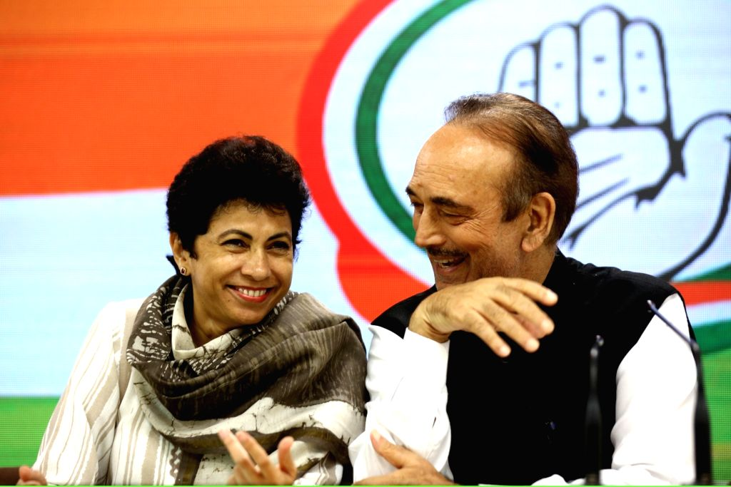Congress General Secretary Incharge Ghulam Nabi Azad and party leader Kumari Selja during a press conference in New Delhi on Sep 15, 2019.