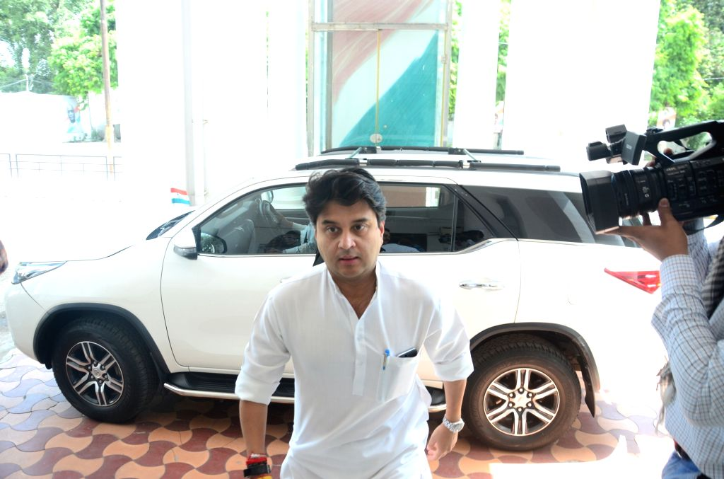 Congress General Secretary Jyotiraditya Scindia arrives to chair a meeting with party workers at the party office, in Lucknow on June 14, 2019.