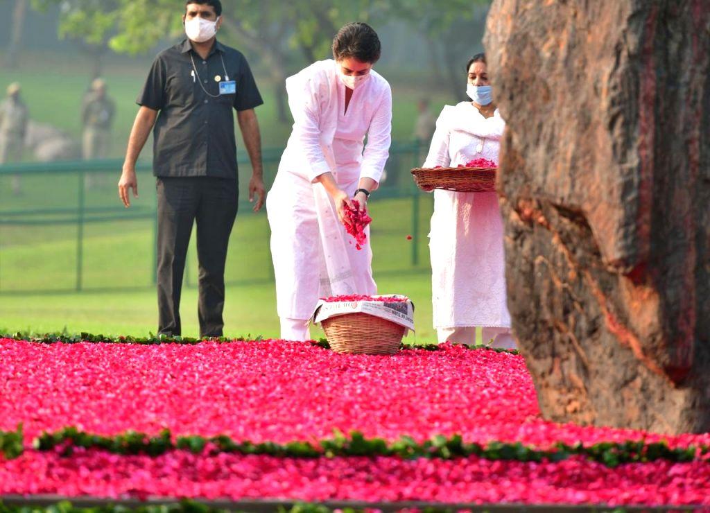 Congress General Secretary Priyanka Gandhi Vadra pays floral tributes to Former Prime Minister and her grandmother Indira Gandhi on her 36th death anniversary, at Shakti Sthal in Rajghat, ... - Indira Gandhi