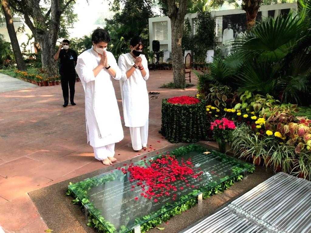 Congress General Secretary Priyanka Gandhi Vadra pays tributes to Former Prime Minister and her grandmother Indira Gandhi on her 36th death anniversary, at Shakti Sthal in Rajghat, New ... - Indira Gandhi