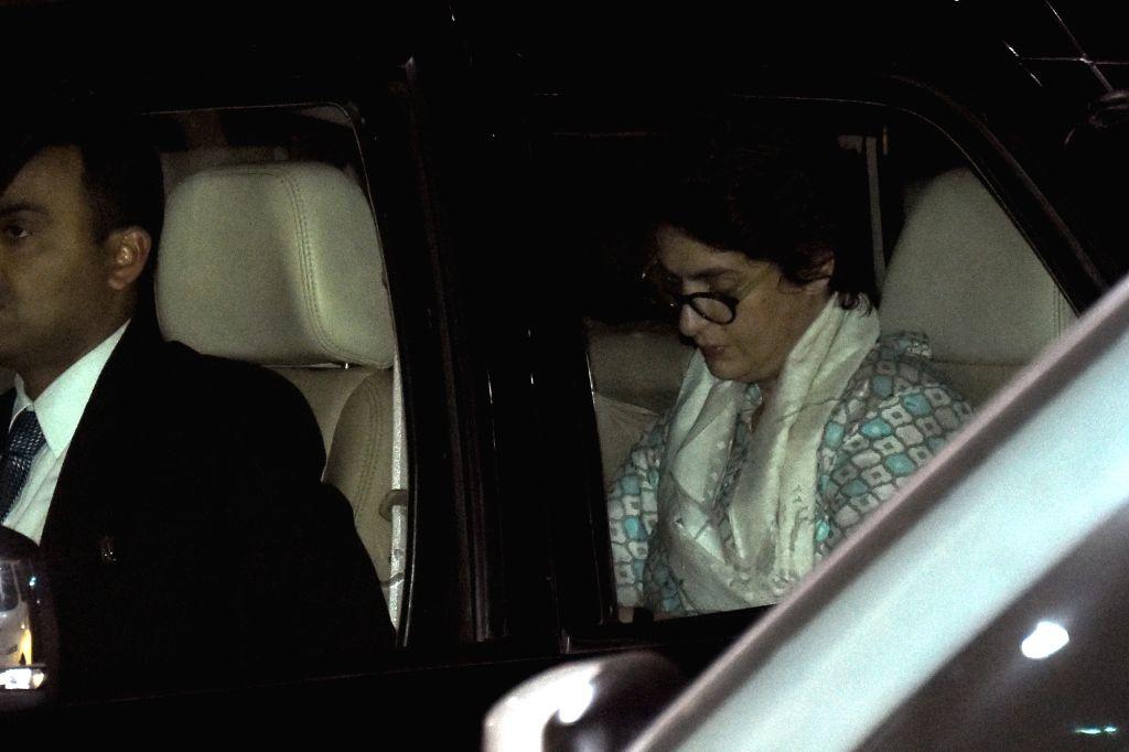 Congress General Secretary Priyanka Gandhi Vadra arrives at Jaipur International Airport on Feb 11, 2019.