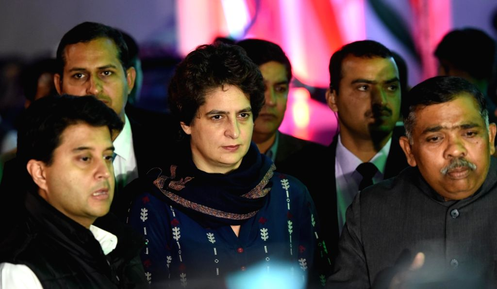 Congress General Secretary Priyanka Gandhi Vadra talks to press at party office in Lucknow on Feb 13, 2019. Also seen Congress leader Jyotiraditya Scindia.
