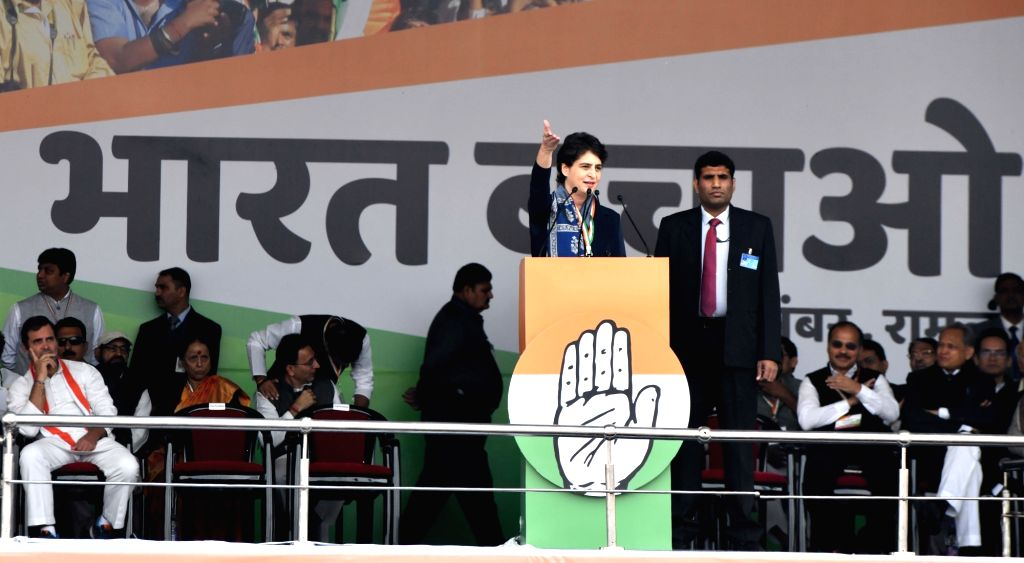 Congress General Secretary Priyanka Gandhi Vadra addresses party workers during 'Bharat Bachao' Rally organised by the party 'against the dictatorship of the BJP government and ... - Ashok Gehlot and Rahul Gandhi