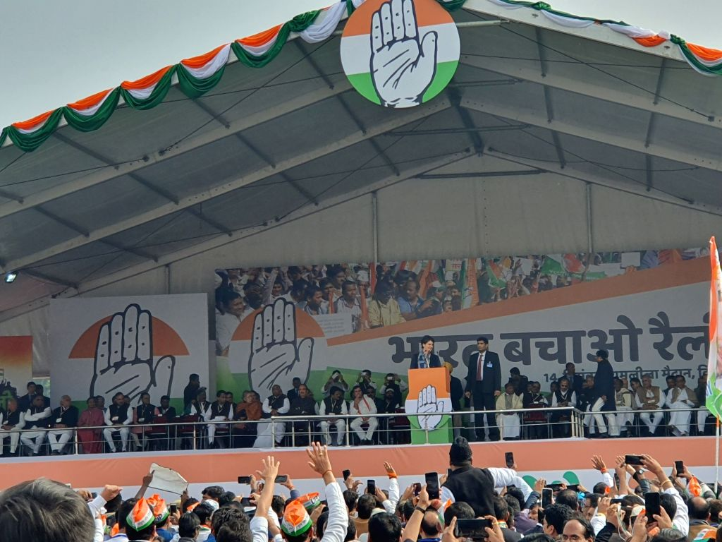 Congress General Secretary Priyanka Gandhi Vadra addresses during 'Bharat Bachao' Rally organised by the party 'against the dictatorship of the BJP government and slaughtering of Indian ...