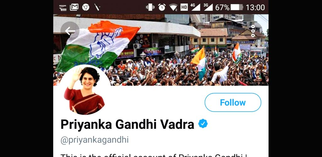 Congress General Secretary Priyanka Gandhi Vadra on Monday made her debut on social media with a verified profile on Twitter and very soon amassed over 22,000 followers. (Photo: IANS)