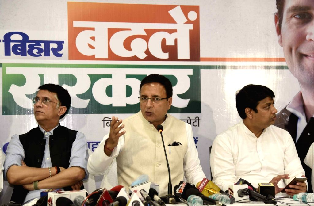 Congress General Secretary Randeep Singh Surjewala addresses a press conference ahead of Bihar Assembly elections, in Patna on Oct 22, 2020.