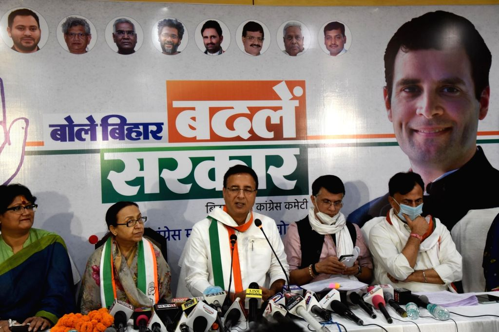 Congress General Secretary Randeep Singh Surjewala addresses a press conference on the eve of Bihar Assembly elections, in Patna on Oct 27, 2020.