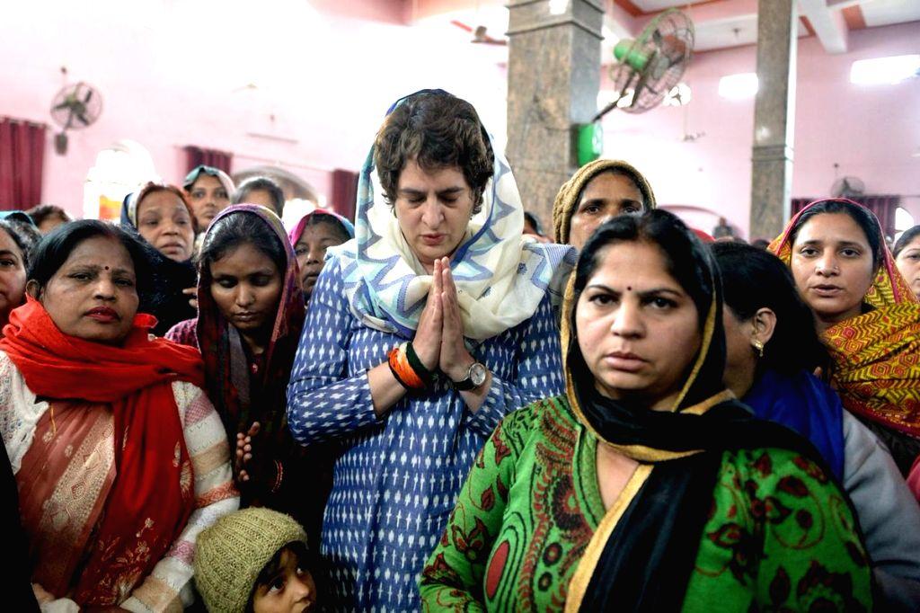 Congress General Secretary (Uttar Pradesh East) Priyanka Gandhi pays tribute to martyr Amit Kumar Kori, one of the 40 CRPF personnel killed in 14 Feb Pulwama  militant attack; in Uttar ... - Priyanka Gandhi and Amit Kumar Kori