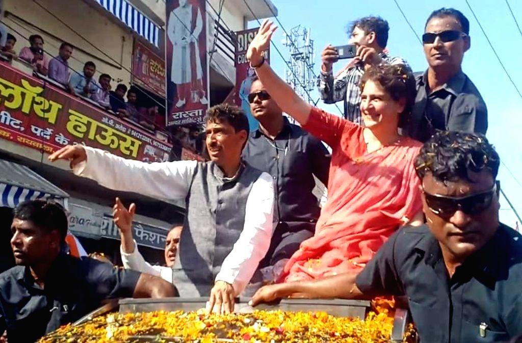 Congress General Secretary (Uttar Pradesh East) Priyanka Gandhi during a roadshow ahead of 2019 Lok Sabha elections, in Uttar Pradesh's Saharanpur, on April 9, 2019. - Priyanka Gandhi
