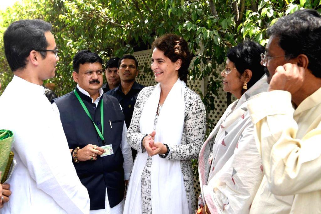 Congress General Secretary (Uttar Pradesh East) Priyanka Gandhi Vadra meets the newly elected MPs of the party, in New Delhi on June 1, 2019. - Priyanka Gandhi Vadra