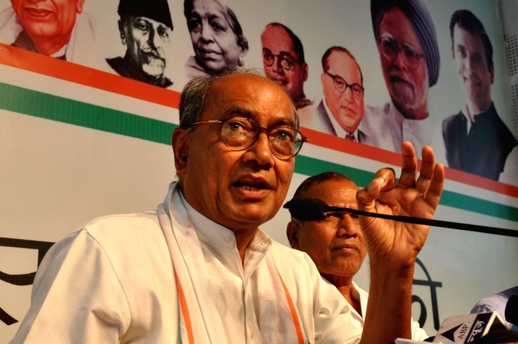Congress GS Digvijay Singh addresses a press conference in Bhopal on Aug 18, 2015. - Digvijay Singh