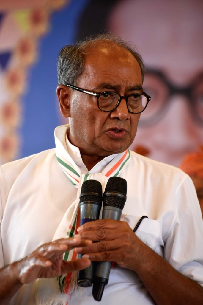 Congress GS Digvijay Singh addresses during a party workers' meeting in Hyderabad on April 12, 2016. - Digvijay Singh