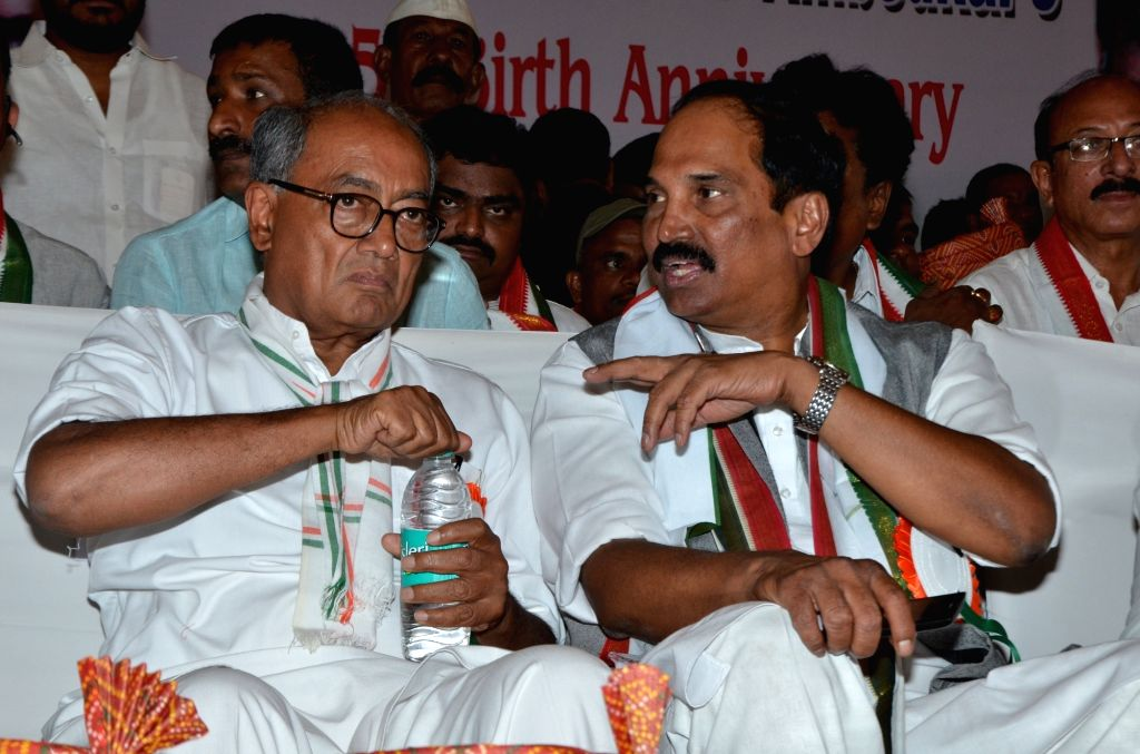 Congress GS Digvijay Singh during a party workers' meeting in Hyderabad on April 12, 2016. - Digvijay Singh