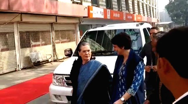 Congress Interim President Sonia Gandhi and General Secretary Priyanka Gandhi Vadra arrive to cast their votes for the Delhi Assembly elections 2020 at a polling booth in central Delhi's ... - Sonia Gandhi