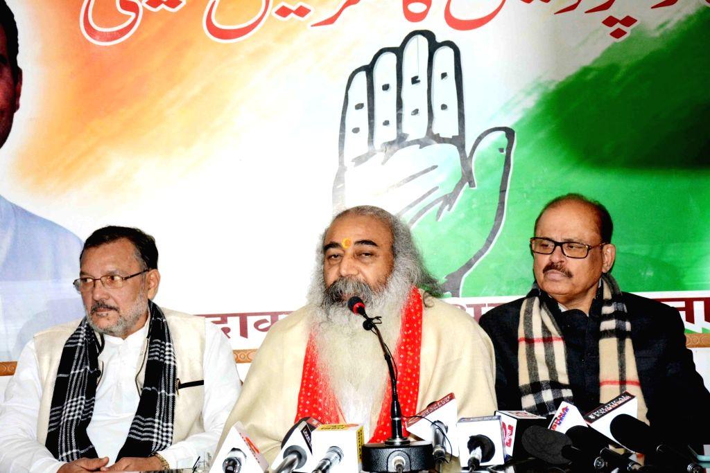 Congress leader Acharya Pramod Krishnam addresses a press conference, in Patna on Jan 29, 2020.