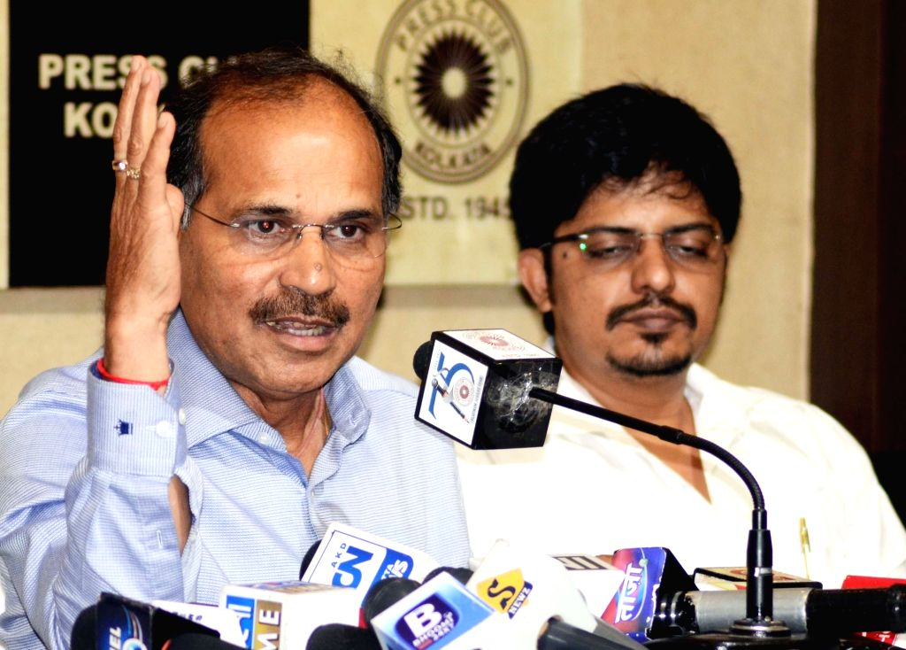 Congress leader Adhir Ranjan Chowdhury addresses a press conference, in Kolkata, on May 2, 2019.