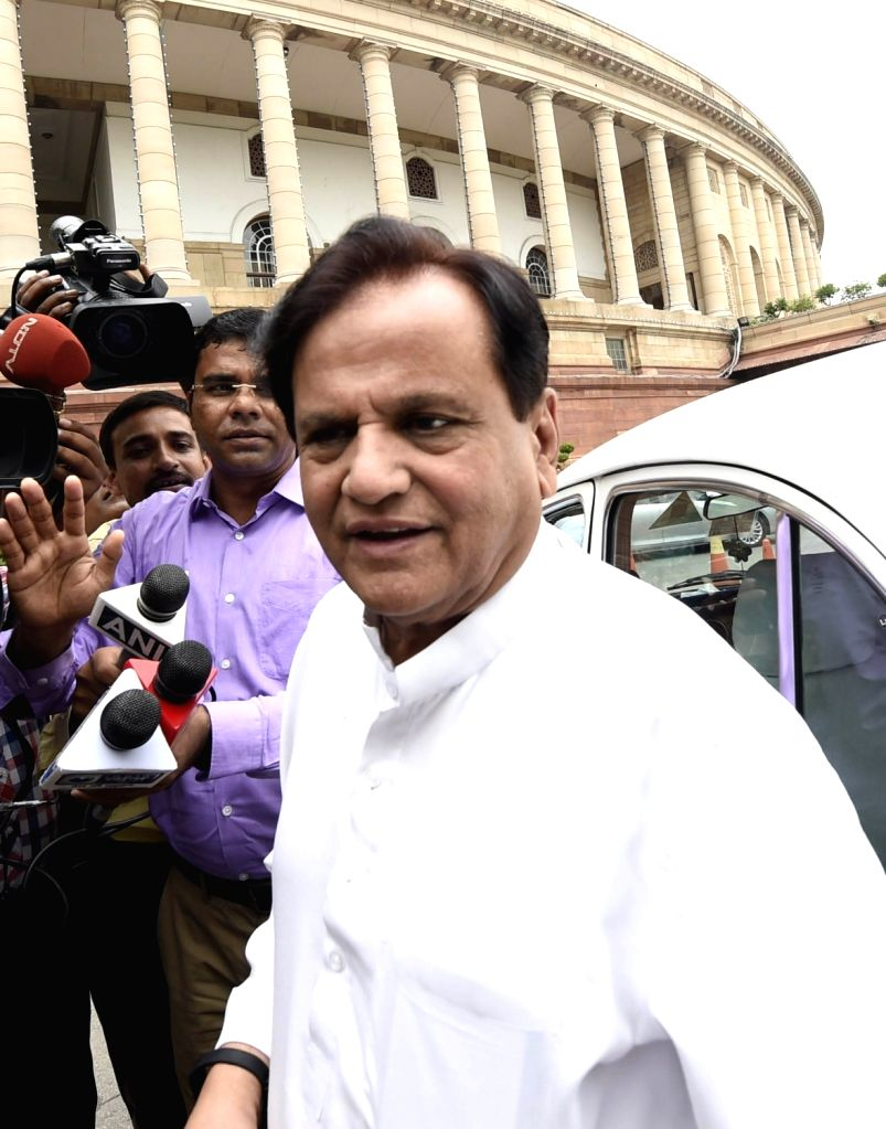 Congress leader Ahmed Patel at Parliament in New Delhi on Aug 10, 2017. - Ahmed Patel
