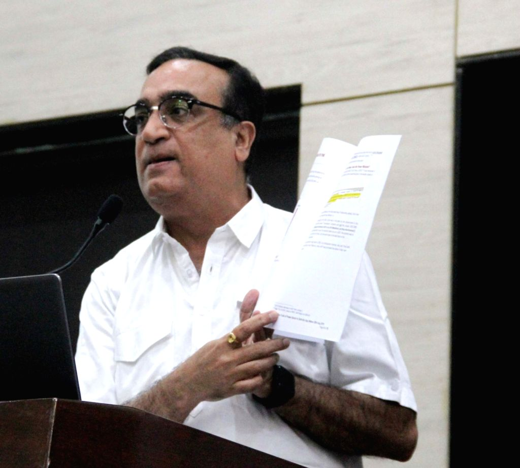 Congress leader Ajay Maken addresses a press conference in New Delhi on Aug 29, 2019.