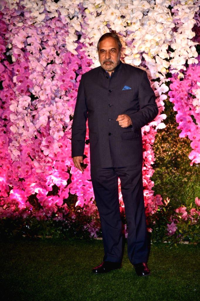 Congress leader Anand Sharma at the wedding reception of Akash Ambani and Shloka Mehta in Mumbai on March 10, 2019. - Anand Sharma, Akash Ambani and Shloka Mehta