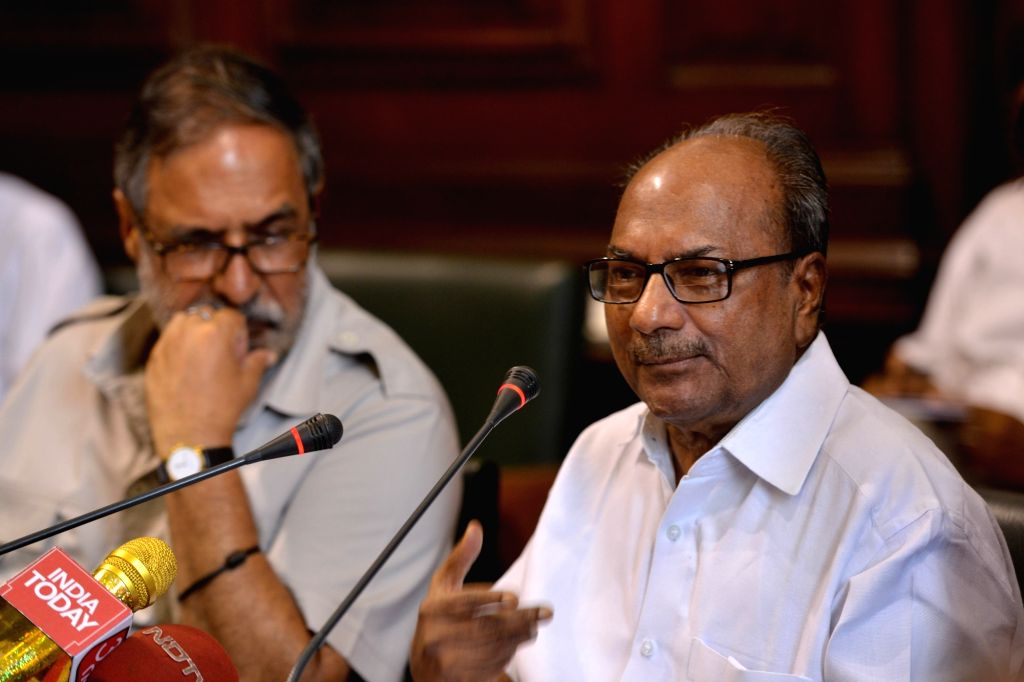 Congress leader and Former Defence Minister A.K. Antony addresses a press conference at Parliament House, in New Delhi, on  July 23, 2018. The Congress on Monday accused Prime Minister ... - A. and Narendra Modi