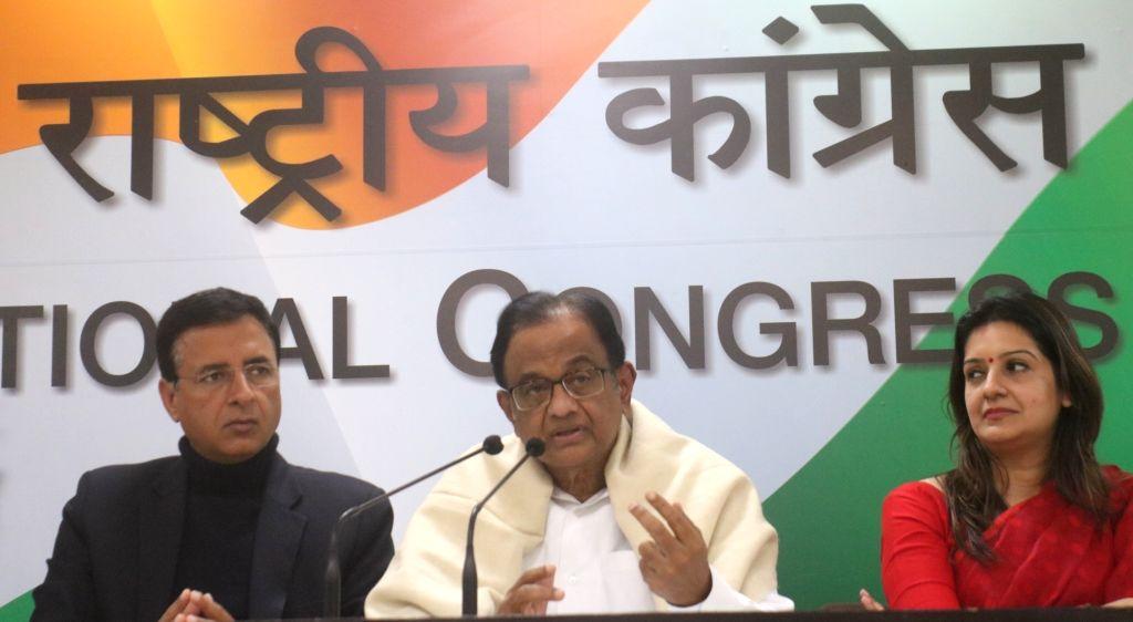 Congress leader and Former Finance Minister P. Chidambaram addresses a press conference in New Delhi on Feb 1, 2019. - P. Chidambaram