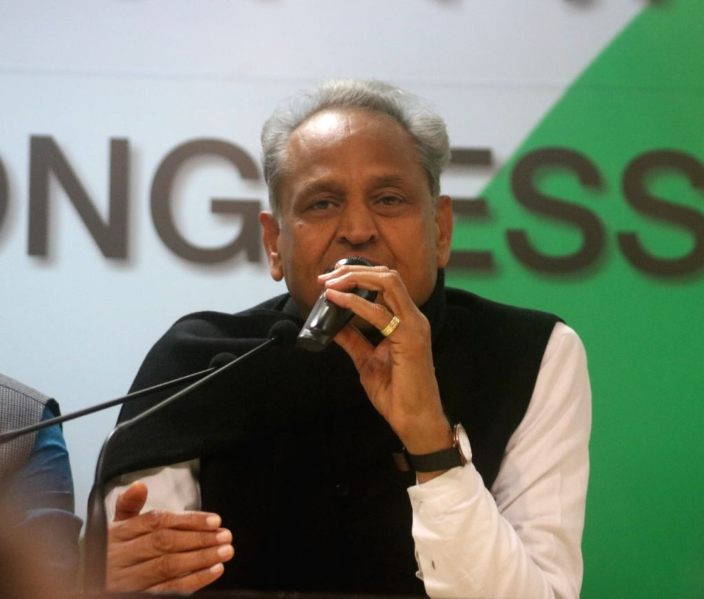 Congress leader Ashok Gehlot addresses a press conference in New Delhi on Dec 14, 2018.