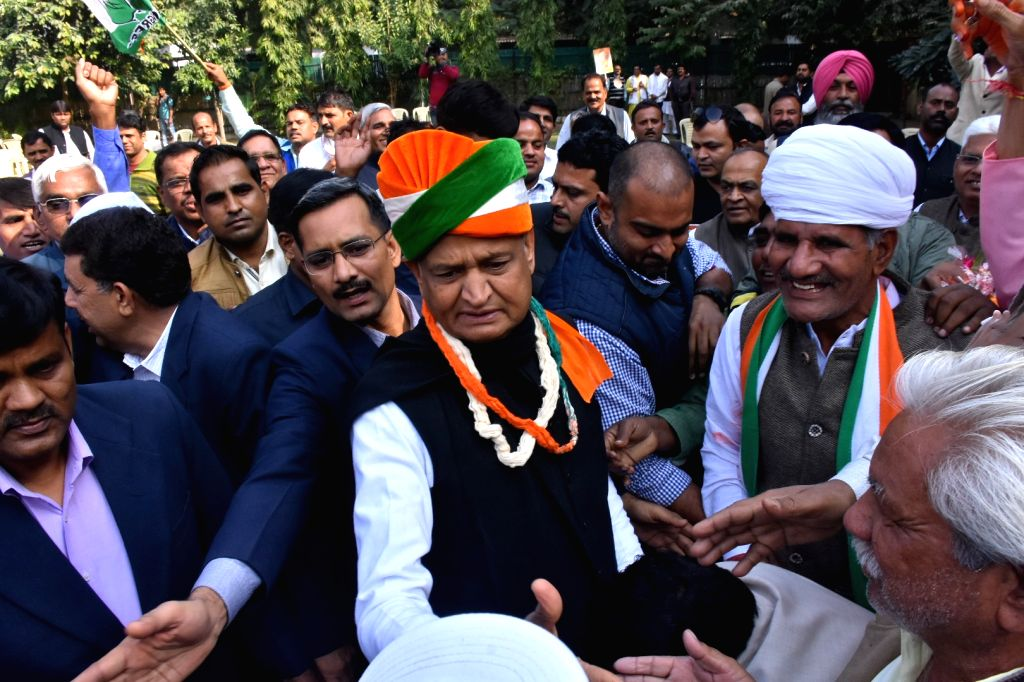 Congress leader Ashok Gehlot being greeted by party workers outside his residence in Jaipur on Dec 11, 2018.