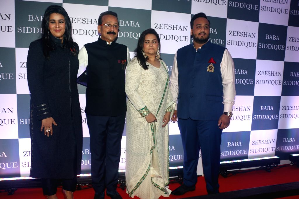 Congress leader Baba Siddique with his wife Shehzeen Siddique and children Zeeshan Siddique and Arshia Siddique during an Iftar party in Mumbai, on June 2, 2019.