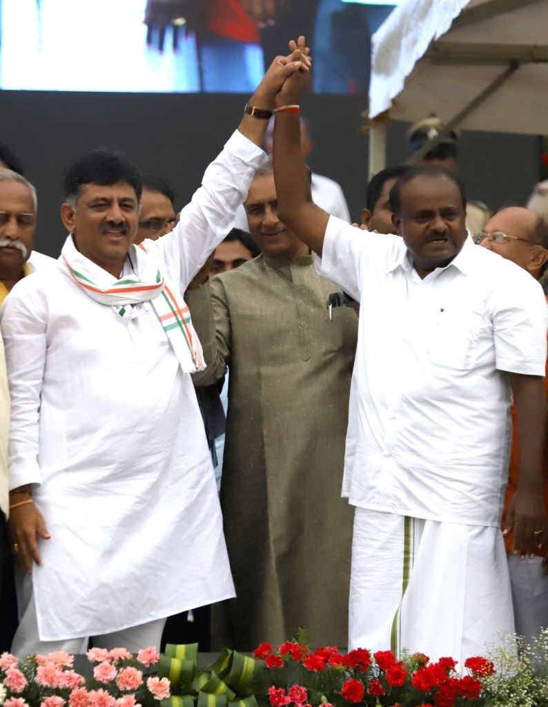 Congress leader D. K. Shivakumar at the swearing in ceremony JD(S) leader H.D. Kumaraswamy in Bengaluru on May 23, 2018.