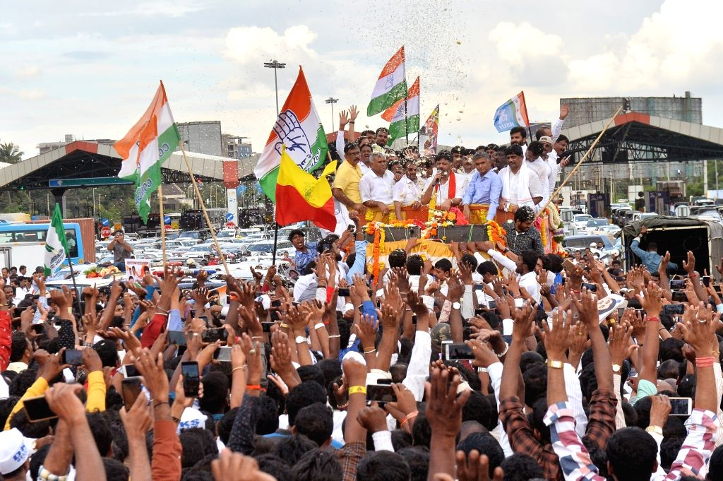 Congress leader D.K. Shivakumar receives warm welcome from party workers on his return to Bengaluru, Karnataka nearly two months after he flew to Delhi on being summoned by the Enforcement ...