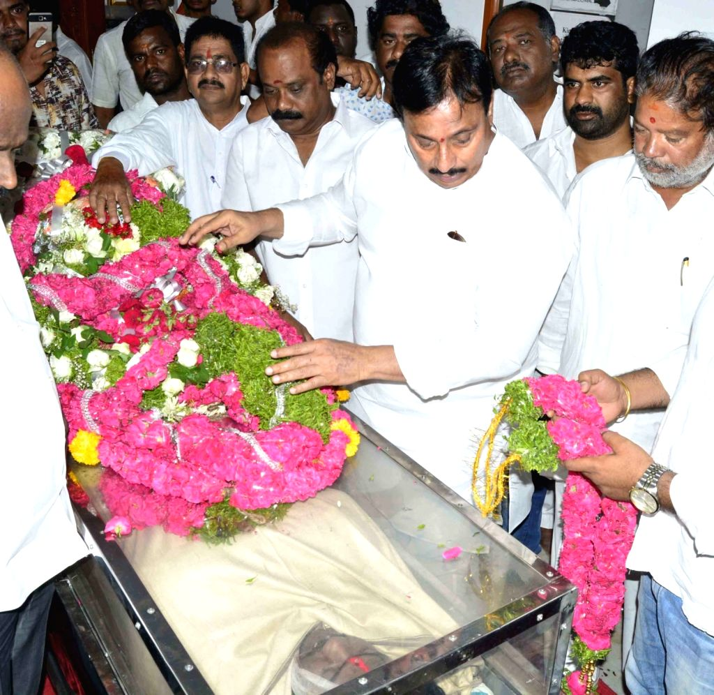 Congress leader Danam Nagender  pays his last respects to the mortal remains of Bandaru Vaishnav, son of former Union Minister and BJP leader Bandaru Dattatreya, in Hyderabad on May 23, ...