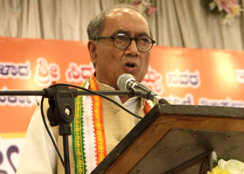 Congress leader Digvijaya Singh addresses during a party programme in Bengaluru, on Oct 27, 2016. - Digvijaya Singh