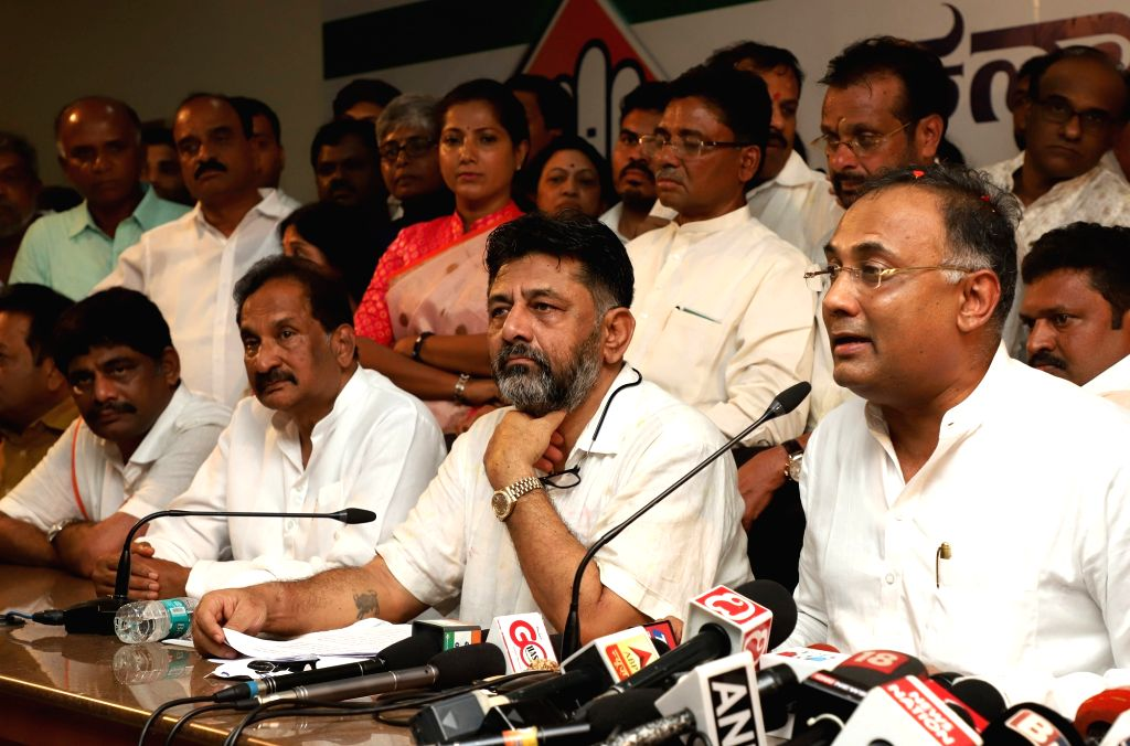 Congress leader DK Shivkumar addresses a press conference in Bengaluru on Oct 26, 2019.