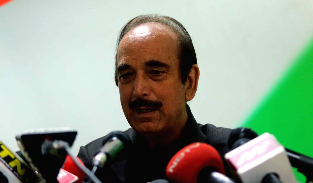 Congress leader Ghulam Nabi Azad addresses a press conference in New Delhi, on Aug 14, 2015.