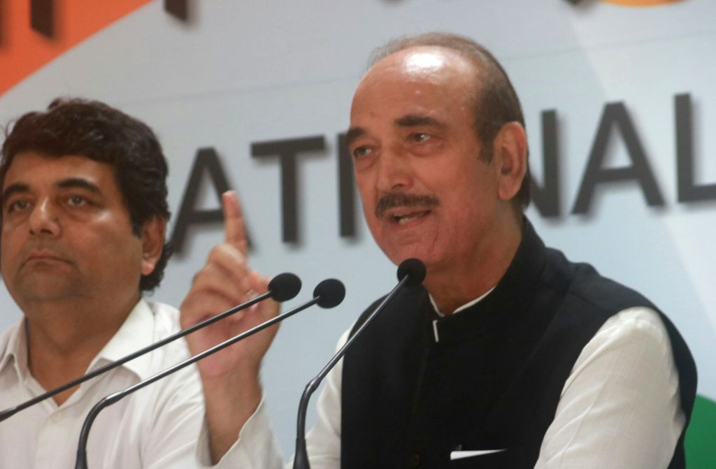 Congress leader Ghulam Nabi Azad addresses a press conference in New Delhi on Aug 16, 2017.