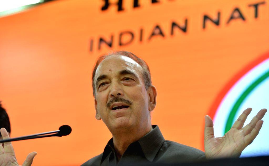 Congress leader Ghulam Nabi Azad addresses a press conference, at the party's headquarters in New Delhi on Sep 30, 2019.