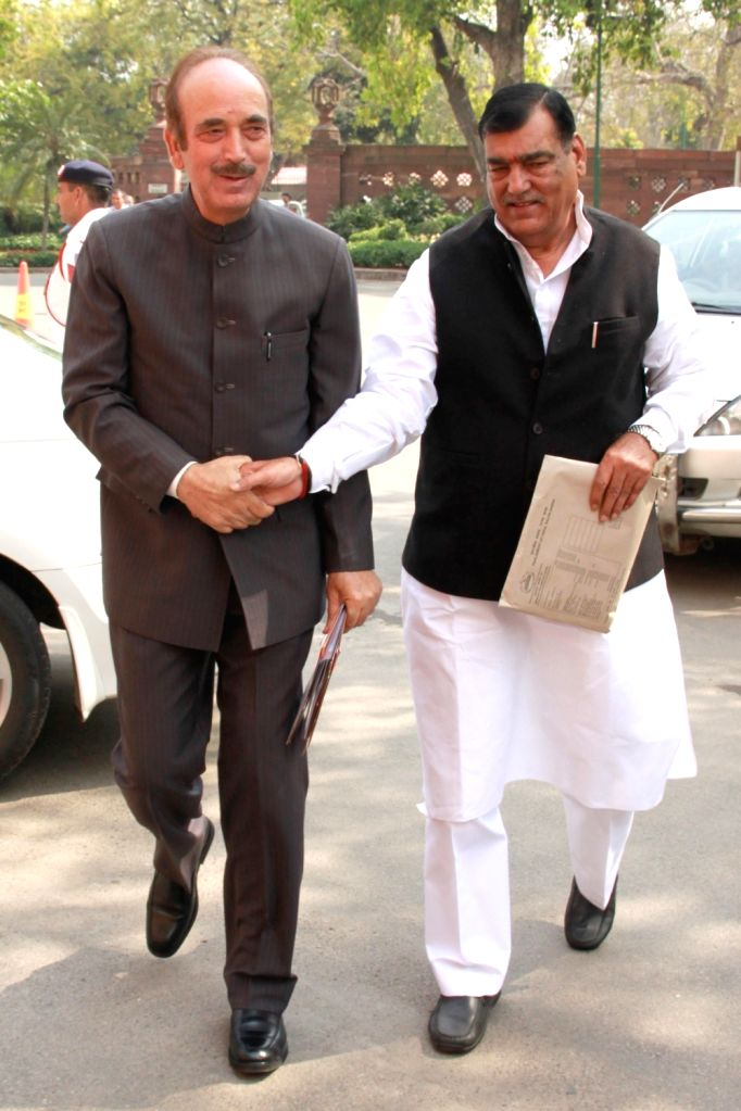 Congress leader Ghulam Nabi Azad arrives to attend the second phase of Budget Session of the Parliament, in New Delhi on March 9, 2017.